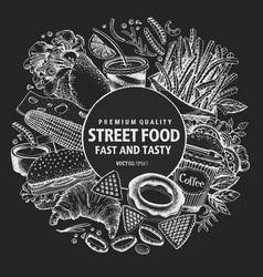Fast food hand drawn street vector