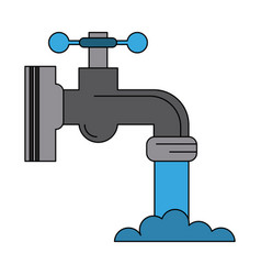 faucet open isolated vector image