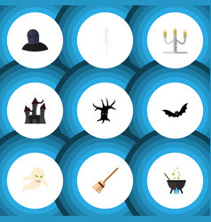Flat icon celebrate set of terrible halloween vector