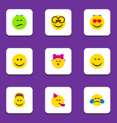Flat icon emoji set of cold sweat love party vector