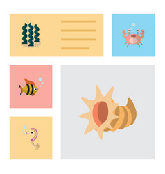 flat icon nature set of seashell seafood vector image