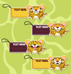 Four cute cartoon Leopards stickers vector