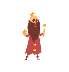 Funny bald king character with golden scepter in vector