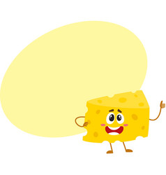 funny cheese chunk character showing thumb up vector image