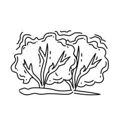 gardening bush icon hand drawn icon outline black vector image