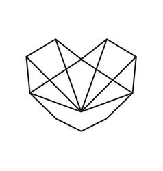 geometric black heart love shape icon vector image