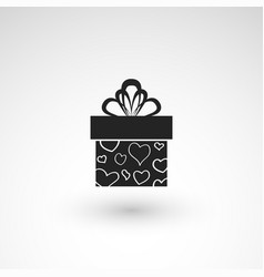 gift box icon with ribbon wrapping pattern design vector image