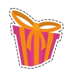 Gift box ribbon new package color cut line vector