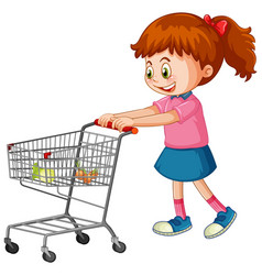 Girl pushing shopping cart with groceries vector