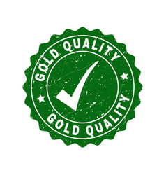 gold quality grunge stamp with tick vector image