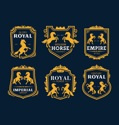 Golden horse royal heraldry and business company vector