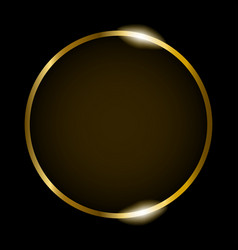 Golden round frame isolated on black background vector