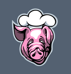 good cook pig cartoon style vector image