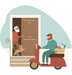 groceries and food delivery for elderly people vector image