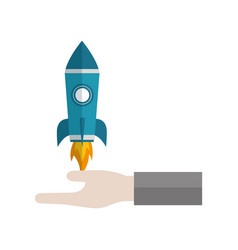 hand holding rocket business start up vector image