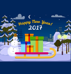 Happy new year 2017 santa sleigh with gift boxes vector