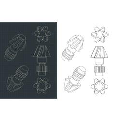 Helical gear dawings vector