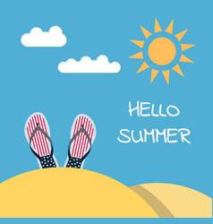 hello summer flip flops beach vector image