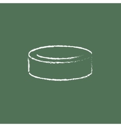 Hockey puck icon drawn in chalk vector