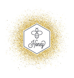 Honey on golden glitter bee and honeycomb vector