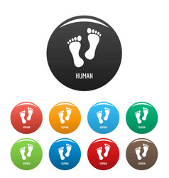 human step icons set color vector image