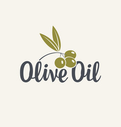 Icon or logo for olive oil with olive branch vector