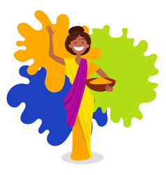 Indian woman on holi festival vector