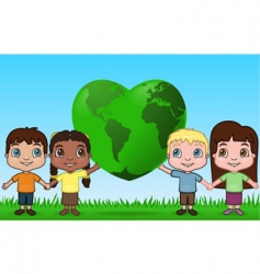 kids holding up the world vector image vector image