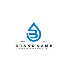 Letter b water drop logo design vector