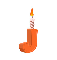letter j birthday font letter and candle vector image