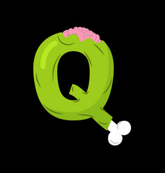 letter q zombie font monster alphabet bones and vector image