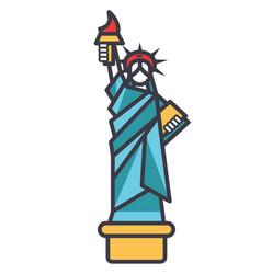 Liberty statue new york flat line vector