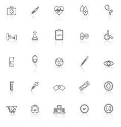 Medical line icons with reflect on white vector image vector image