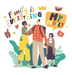 Multicultural and multiracial happy family vector