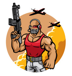 muscular soldier mascot character vector image