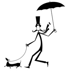 Mustache man walking with umbrella and dog isolate vector