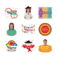 National hispanic heritage month icon set vector