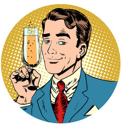 nice man with a glass of champagne sparkling wine vector image
