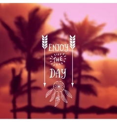 Ocean beach with palms backdrop vector image