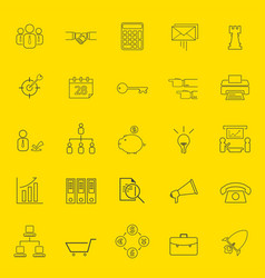 Office and business thin line icons vector