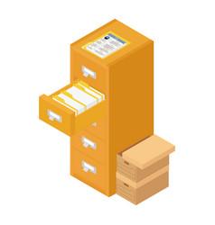 Office worker folder archive database vector