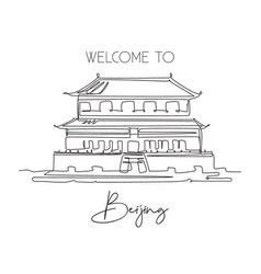 One continuous line drawing forbidden city palace vector