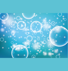 Oxygen bubbles in water blue background for vector