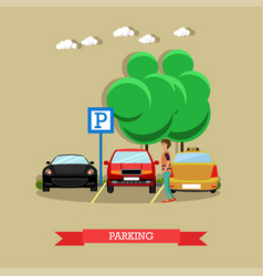 parking concept in flat style vector image