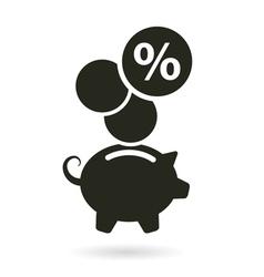Percent saving piggy bank vector