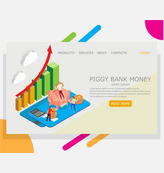 piggy bank money website landing page vector image