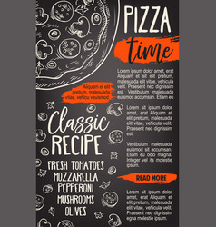 Pizza fast food sketch italy pizzeria vector