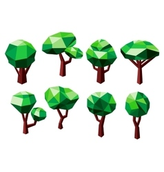 Polygonal trees icons with green foliage vector