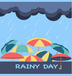 Rainy season background with clouds raindrops vector