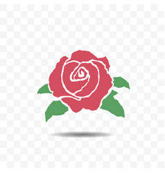 red rose icon isolated on transparent background vector image